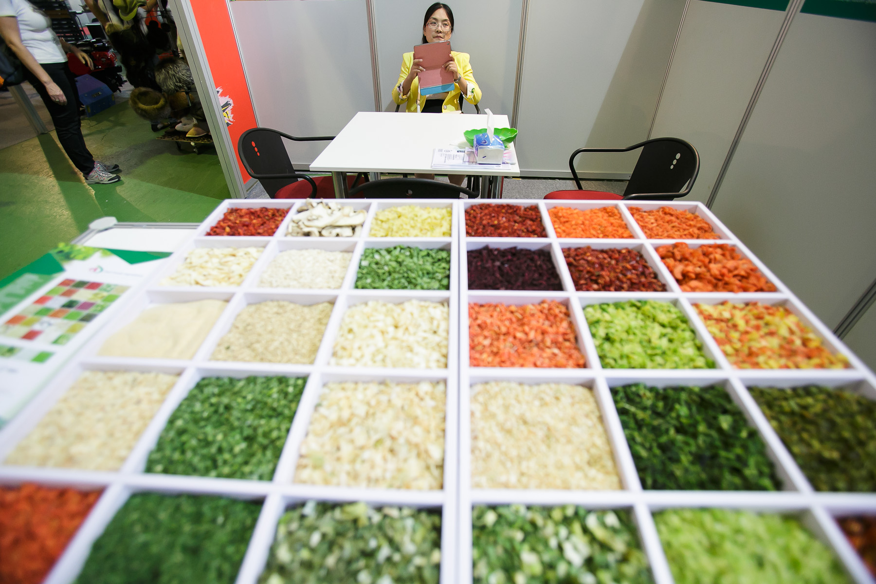 Chinese company Yancheng Dadi Foods presents air dried vegetable products at the 53rd agricultural fair Agra in Gornja Radgona, Slovenia, Aug. 22, 2015.