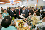 Fernand Etgen, the president of EU\'s Agricultural Council, Dejan Zidan, Slovenia\'s Agriculture, Forestry and Food Minister, and president of Slovenia Borut Pahor, meet the exhibitors at the 53rd agricultural fair Agra in Gornja Radgona, Slovenia, Aug. 22, 2015.