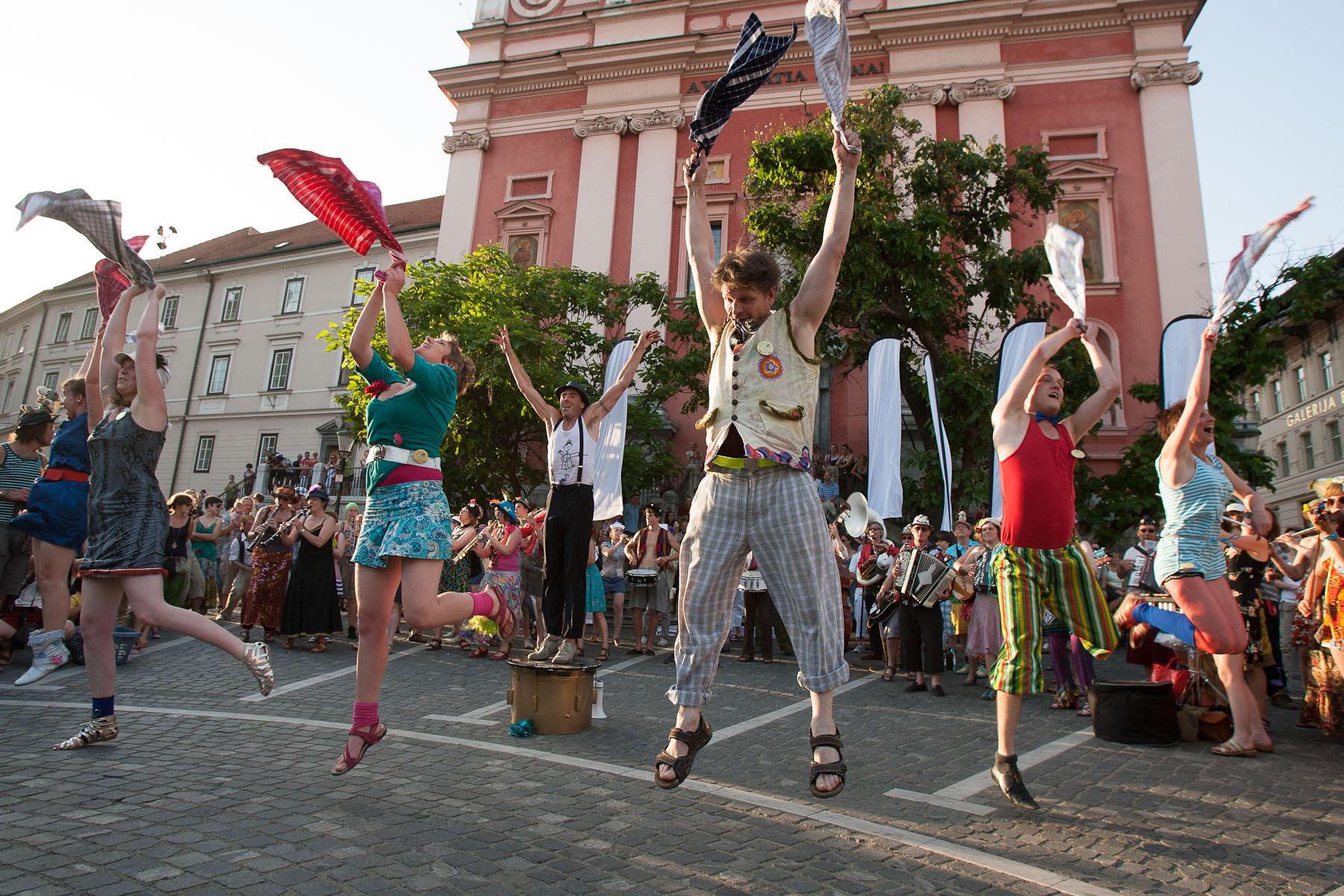 Bij' De Vieze Gasten (Belgium) perform during the Ana Desetnica international street arts festival in Ljubljana, Slovenia, Jun 30 2012.
