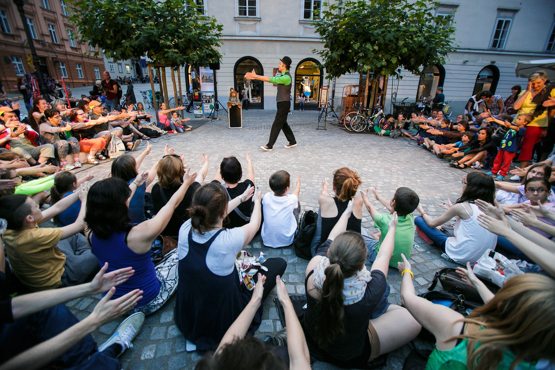 Sam Sebastian (SLO) performs during the Ana Desetnica street arts festival in Ljubljana, Slovenia, July 2, 2014.