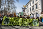 Protresters hold a banner that reads 'Climate justice now' as around five thousand students march the streets of Ljubljana, Slovenia, during a protest against inaction on climate change  as part of a global Youth Climate Strike on Friday, March 15. (Xinhua/Luka Dakskobler)