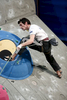 Romain Desgranges of France competes during the IFSC climbing world cup finals in Kranj, Slovenia, on Nov 18, 2012.