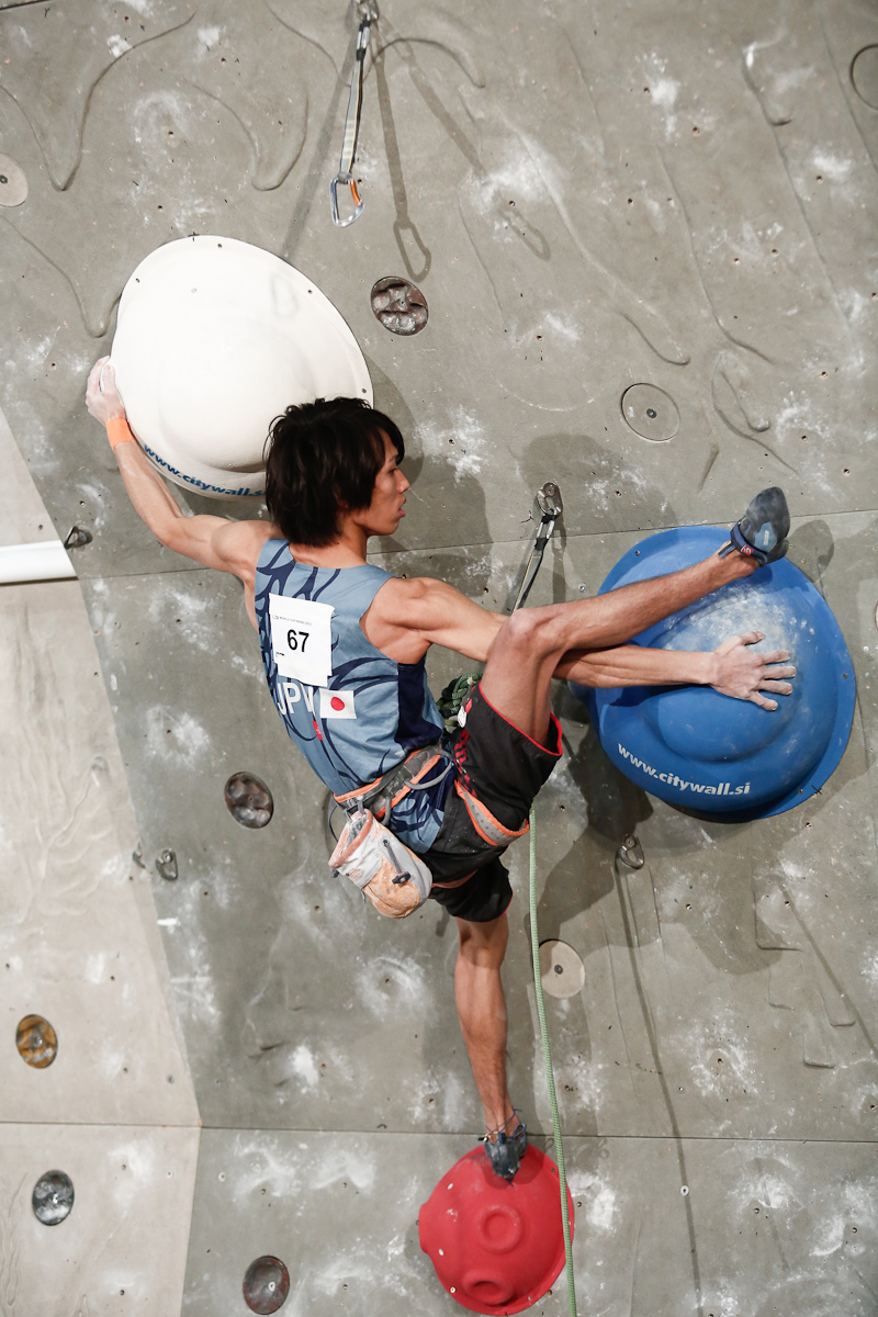 Sachi Amma of Japan competes during the IFSC climbing world cup finals in Kranj, Slovenia, on Nov 18, 2012.