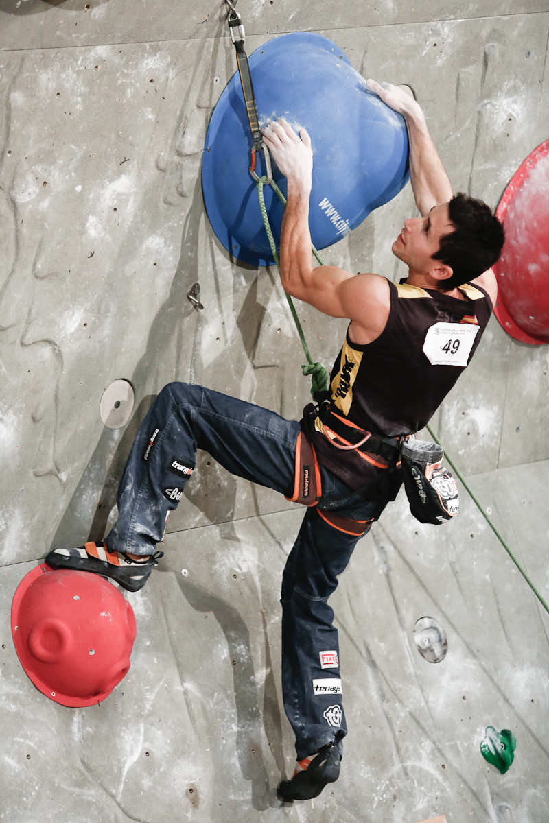 Ramon Julian Puigblanque of Spain competes during the IFSC climbing world cup finals in Kranj, Slovenia, on Nov 18, 2012.