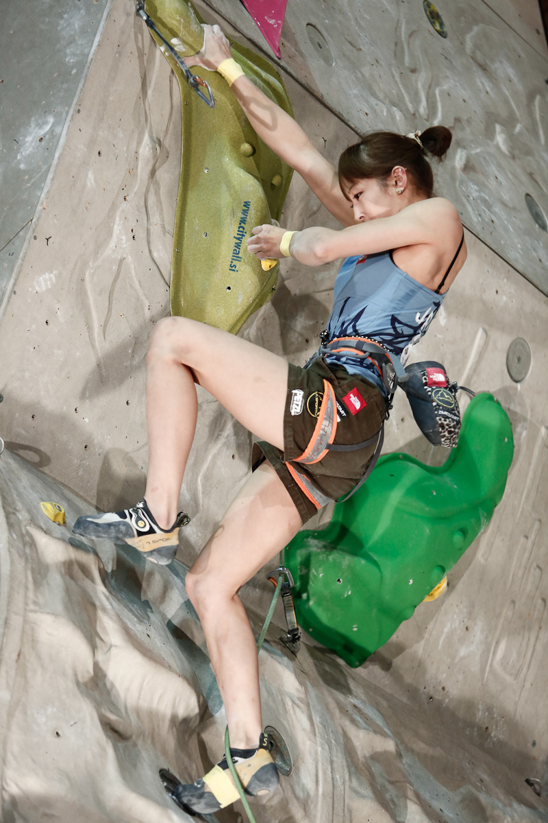 Akiyo Noguchi of Japan competes during the IFSC climbing world cup finals in Kranj, Slovenia, on Nov 18, 2012.