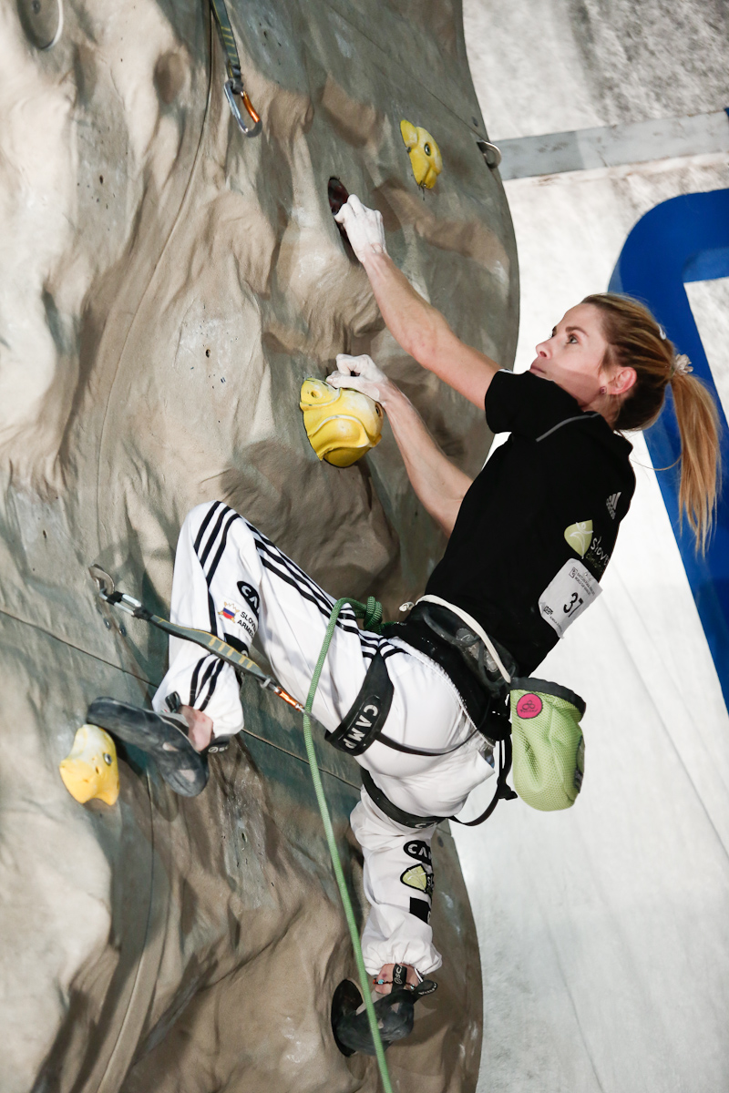 Maja Vidmar of Slovenia competes during the IFSC climbing world cup finals in Kranj, Slovenia, on Nov 18, 2012.