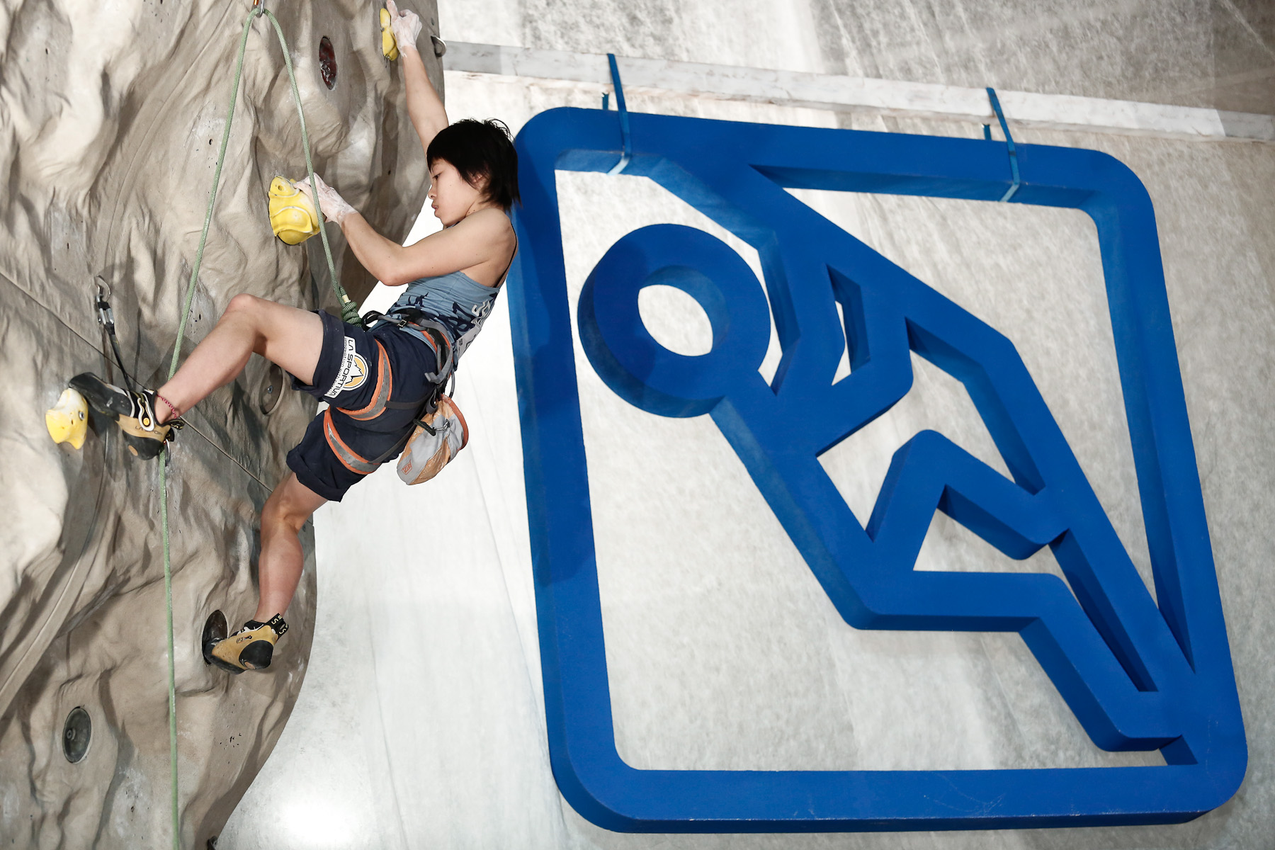Momoka Oda of Japan competes during the IFSC climbing world cup finals in Kranj, Slovenia, on Nov 18, 2012.