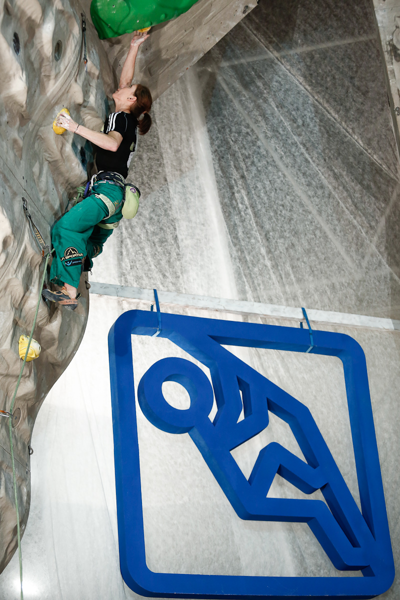 Mina Markovic of Slovenia competes during the IFSC climbing world cup finals in Kranj, Slovenia, on Nov 18, 2012.