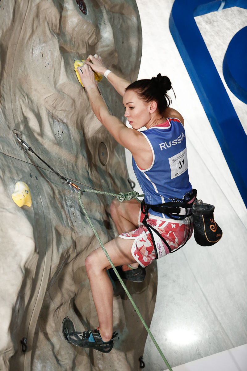 Dinara Fahritdinova of Russia competes during the IFSC climbing world cup finals in Kranj, Slovenia, on Nov 18, 2012.