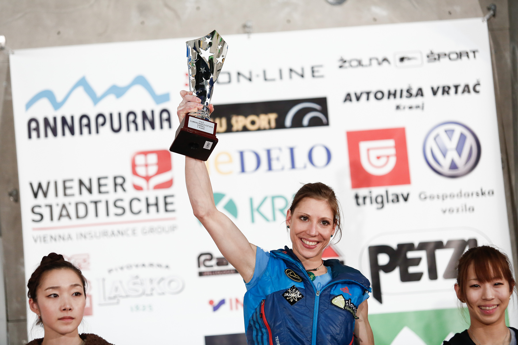 Mina Markovic (SLO) celebrates as overall winner of the IFSC climbing world cup in Kranj, Slovenia, on Nov 18, 2012.