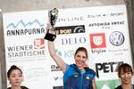 Mina Markovic (SLO) celebrates as overall winner of the IFSC climbing world cup in Kranj, Slovenia, on Nov 18, 2012.