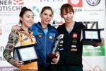 Jain Kim (KOR), Mina Markovic (SLO) and Akiyo Noguchi (JPN) on the podium after the IFSC climbing world cup finals in Kranj, Slovenia, on Nov 18, 2012.