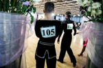 A dancer waits for his turn by the podium of the 2013 Ljubljana Open dancing competition in Ljubljana, Slovenia.