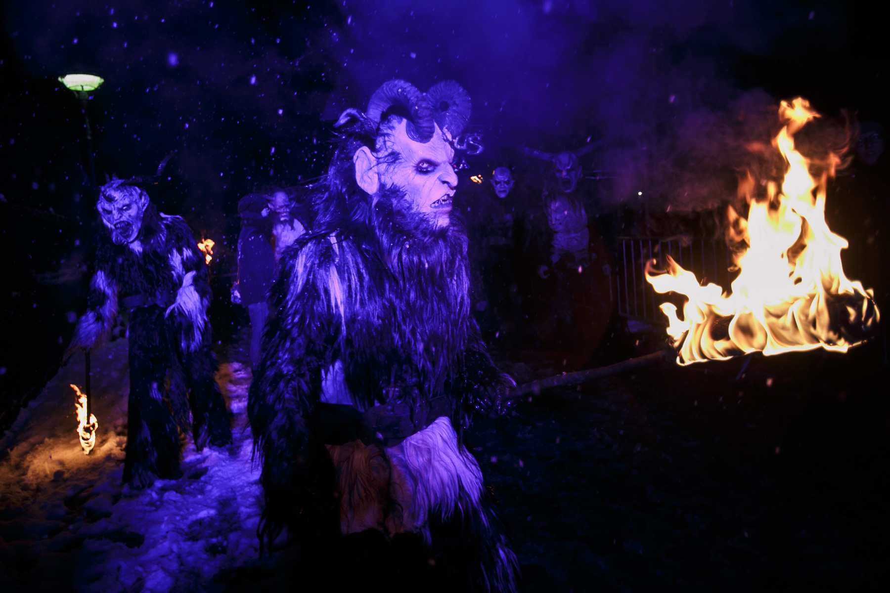 Participants dressed as Krampus creatures walk the street during the Krampus gathering in Goricane, Slovenia, Nov. 21, 2015. In Central European alpine folklore, Krampus is a demonic creature traditionally following St. Nicholas and angels on the evening of December 5. It pries on children who were not good during the year.