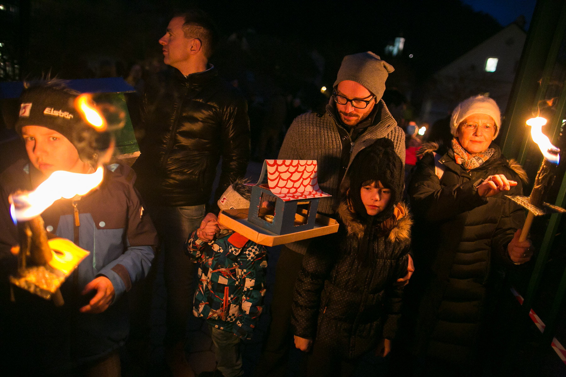 People attend the official presentation of model houses or {quote}gregorcki{quote} built by students of Trzic elementary school, during a traditional event called Light in the water, in which model houses and other objects are lit with candles and thrown in the water to symbolize the coming of spring, in Trzic, Slovenia, on March 11, 2016, the eve before St. Gregory's Day that was once the first day of spring. The students and their teachers built 750 model houses in an attempt to set a Guinness world record.