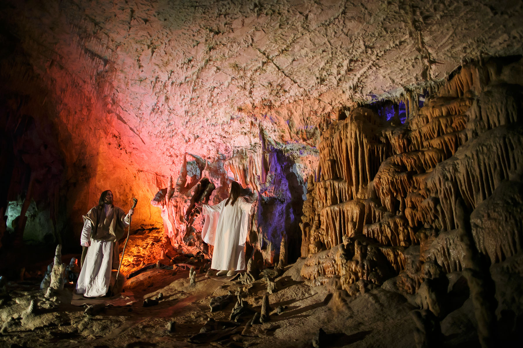 Actors perform in a biblical scene during the world's largest live Nativity scene in a cave, staged in the world-famous Postojna Cave in Slovenia, Dec. 25, 2015.