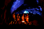 Actors perform as shepherds in a biblical scene during the world's largest live Nativity scene in a cave, staged in the world-famous Postojna Cave in Slovenia, Dec. 25, 2015.