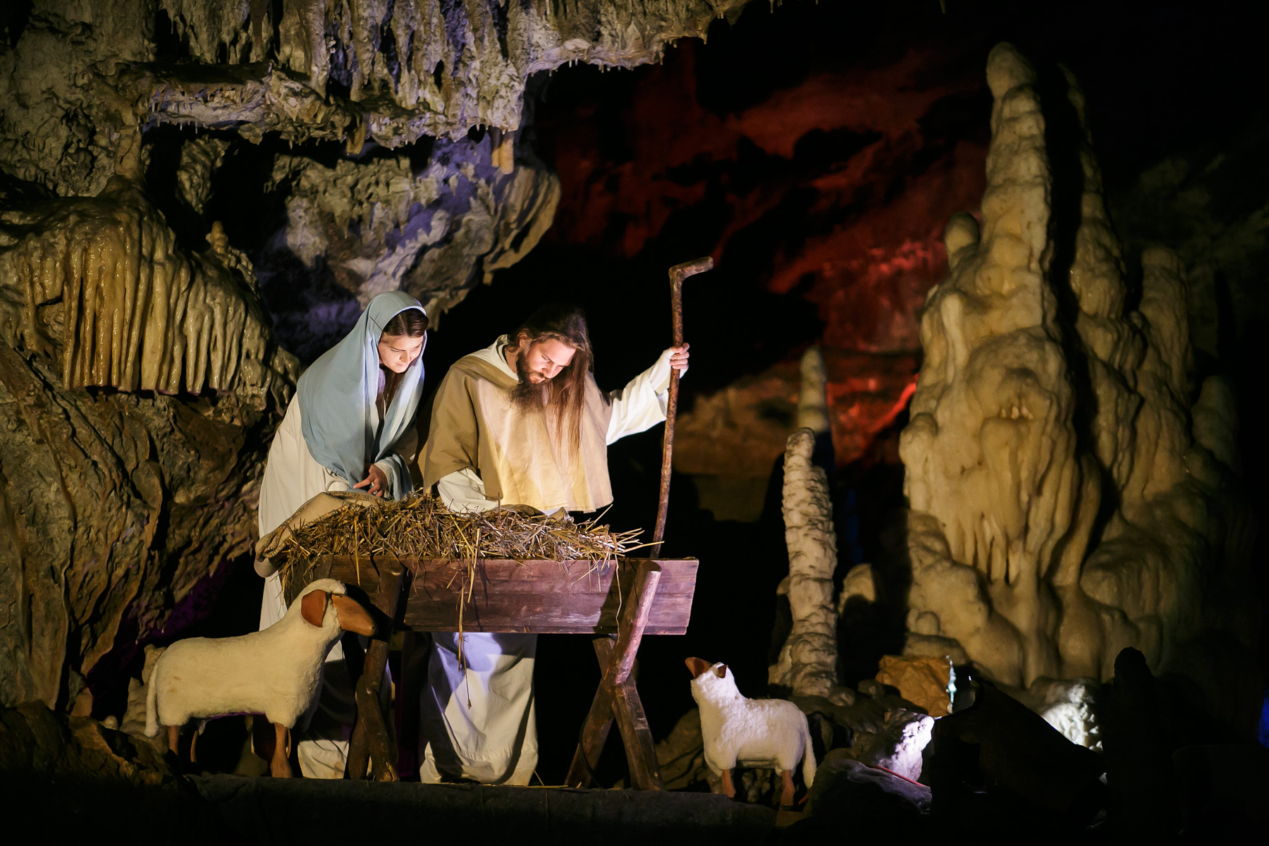 Actors perform as Joseph and Mary during the world's largest live Nativity scene in a cave, staged in the world-famous Postojna Cave in Slovenia, Dec. 25, 2015.