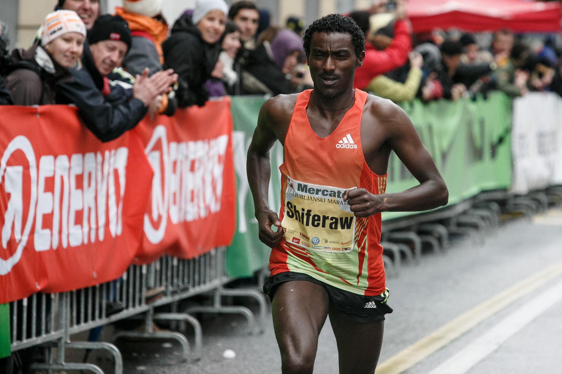 Berhanu Shiferaw of Ethiopia competes in the 17th International Ljubljana Marathon on Oct 28, 2012 in Ljubljana, Slovenia.
