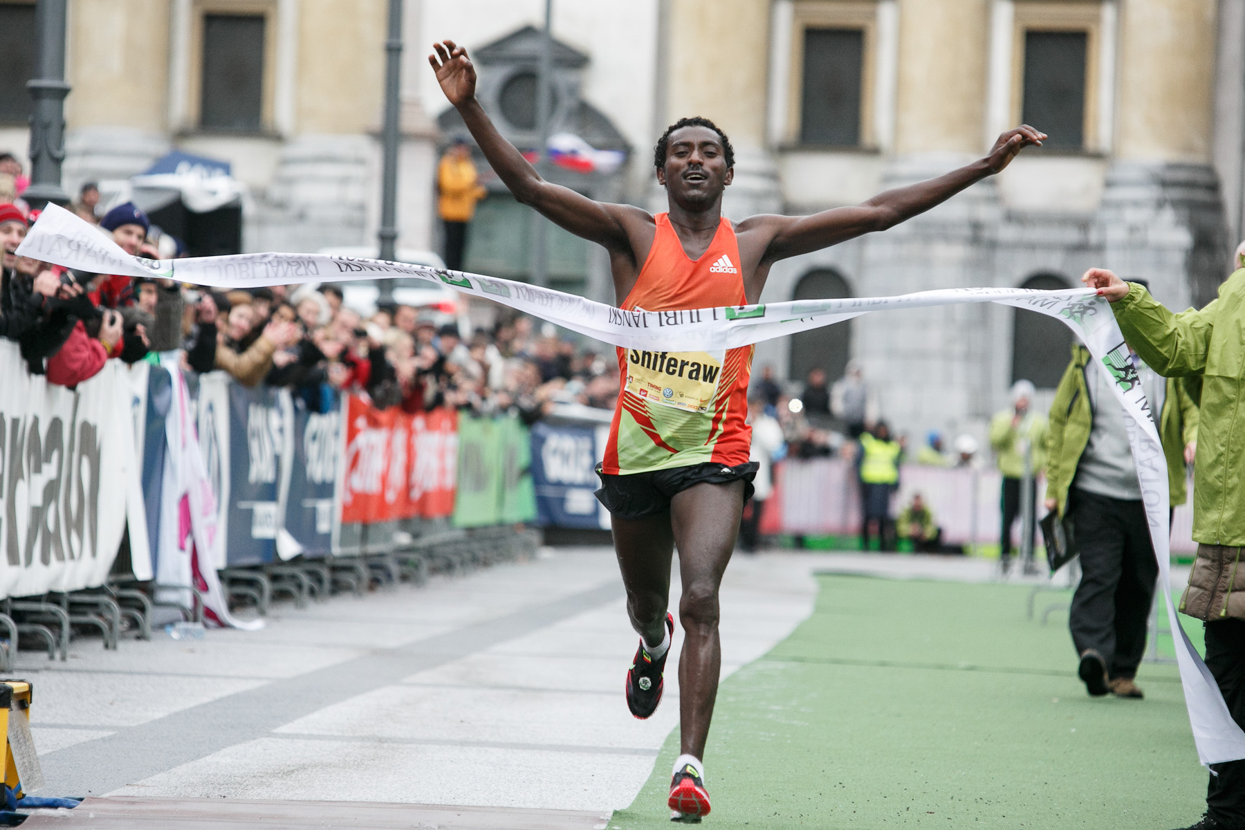 Berhanu Shiferaw of Ethiopia crosses the finish line during the 17th International Ljubljana Marathon on Oct 28, 2012 in Ljubljana, Slovenia.