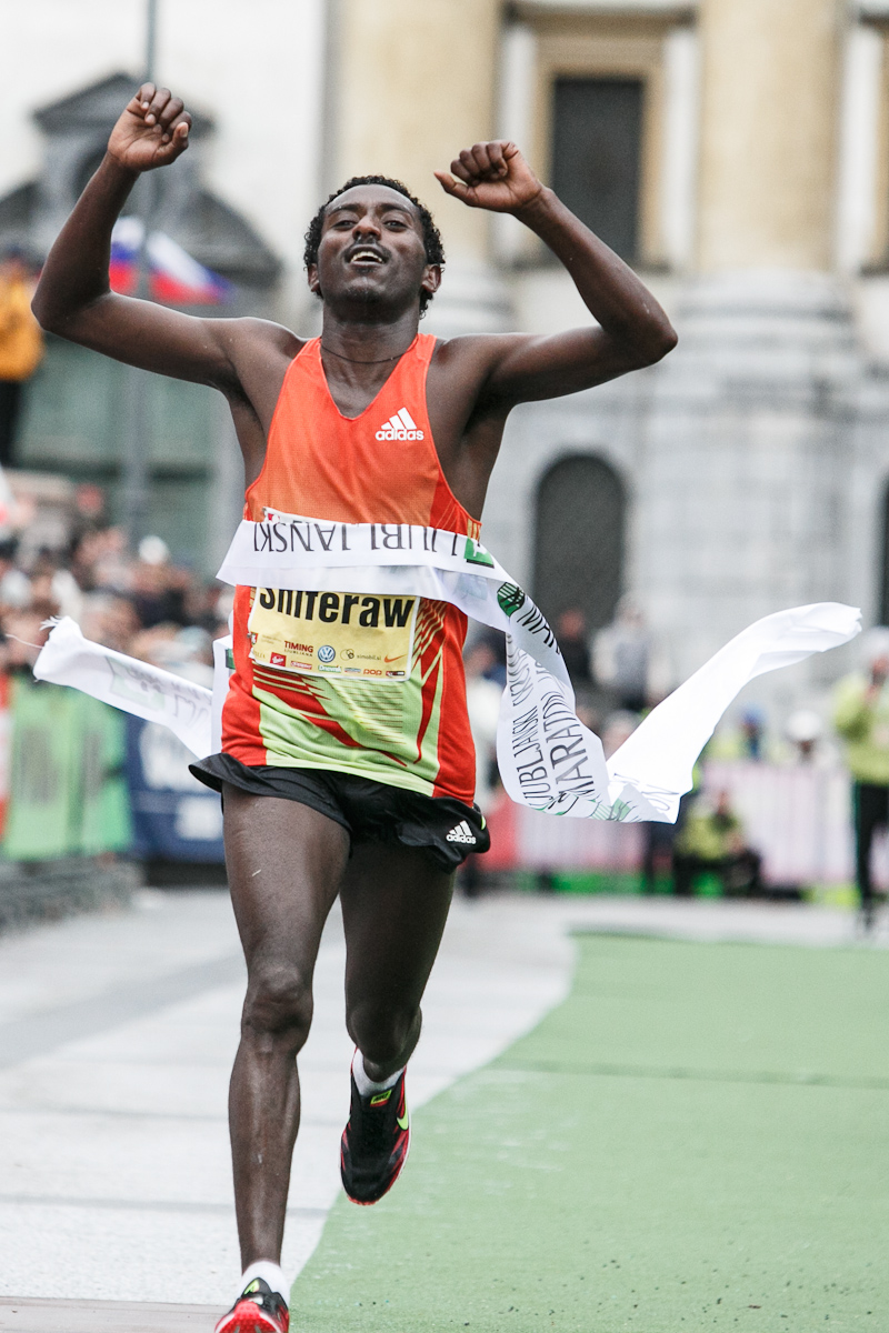 Berhanu Shiferaw of Ethiopia crosses the finish line during the 17th International Ljubljana Marathon on Oct 28, 2012 in Ljubljana, Slovenia.