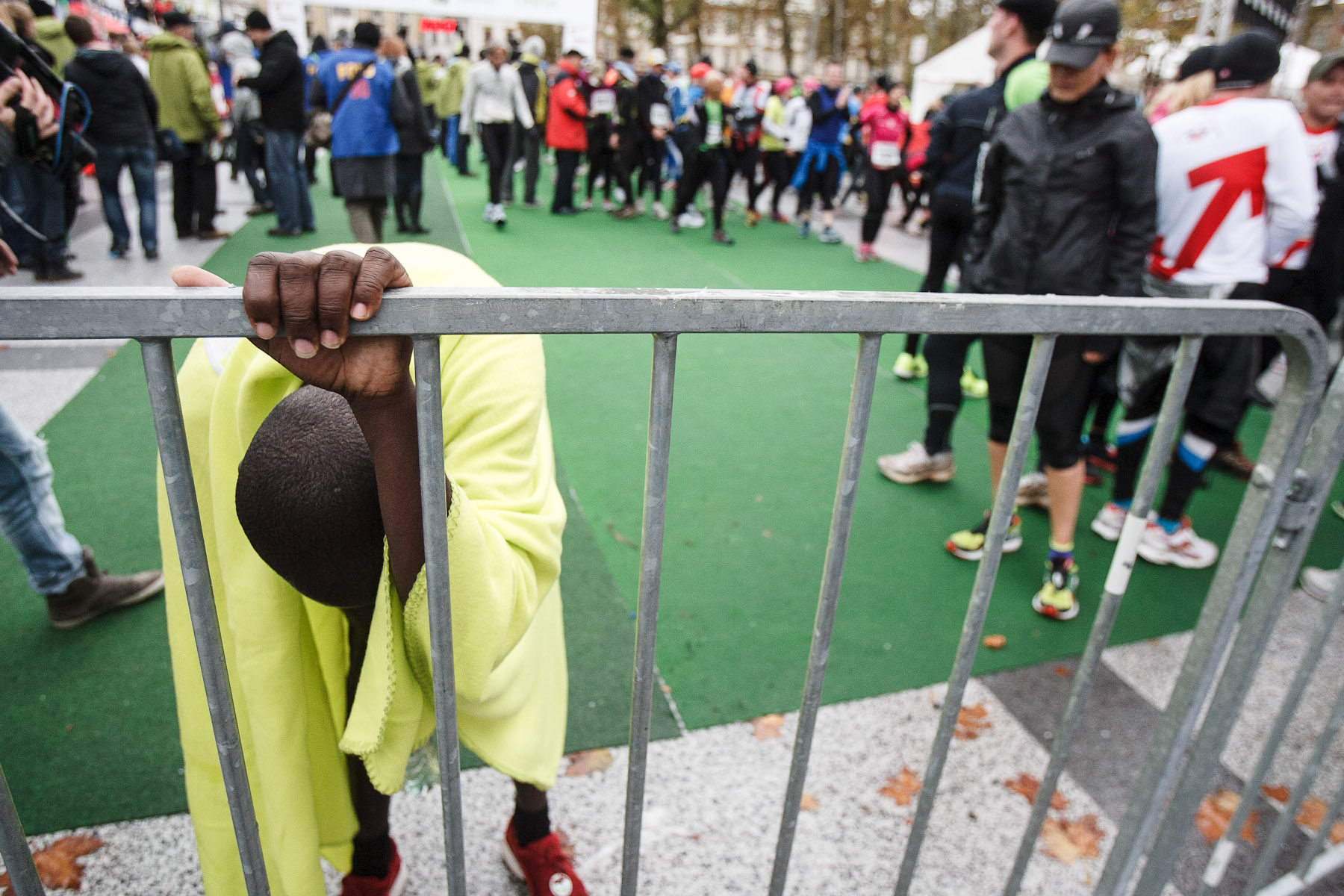 Daniel Chepyegon of Uganda rest after the 17th International Ljubljana Marathon on Oct 28, 2012 in Ljubljana, Slovenia.