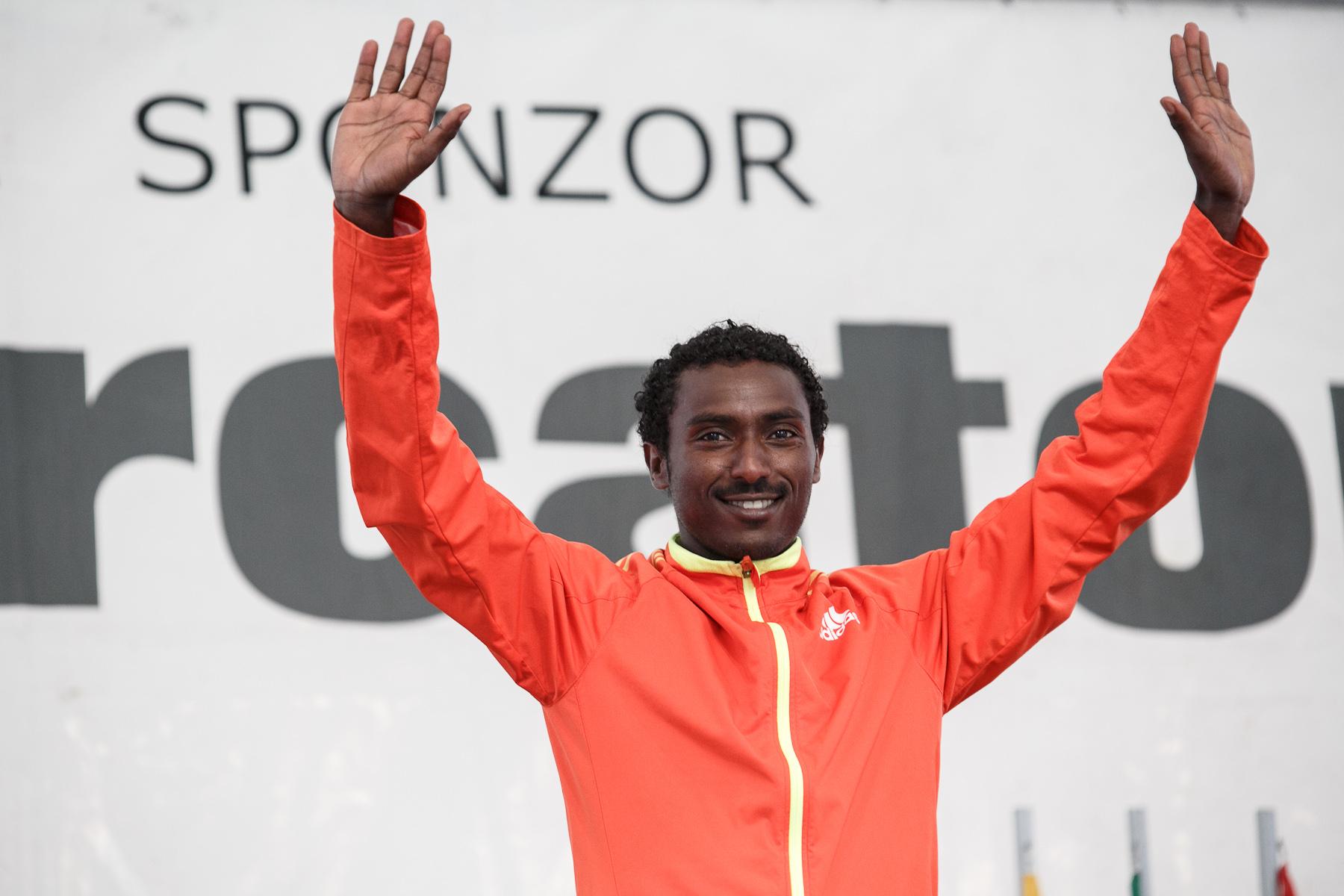 Berhanu Shiferaw celebrates victory at the 17th International Ljubljana Marathon on Oct 28, 2012 in Ljubljana, Slovenia.