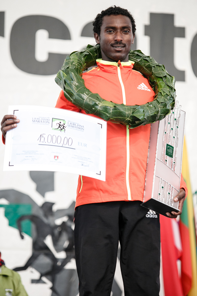 Berhanu Shiferaw during the award ceremony at the 17th International Ljubljana Marathon on Oct 28, 2012 in Ljubljana, Slovenia.