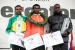 Birhanu Gebro (ETH),  Berhanu Shiferaw (ETH) and Daniel Chepyegon (UGA) during the award ceremony at the 17th International Ljubljana Marathon on Oct 28, 2012 in Ljubljana, Slovenia.