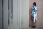 A cosplayer waits to go on stage during the 4th Makkon, the largest Slovenian anime event, in Ljubljana, Slovenia, Dec. 12, 2015.