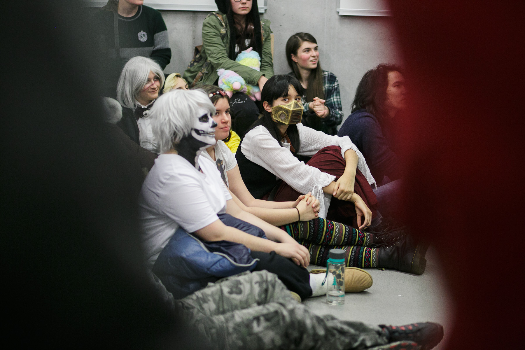 Cosplayers watch the veteran cosplayers competition during the 4th Makkon, the largest Slovenian anime event, in Ljubljana, Slovenia, Dec. 12, 2015.