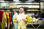 Wang Lu who plays the Monkey King puts on a costume before the China National Peking Opera Company performance of the Monkey King Cankarjev dom in Culture and Congress Center in Ljubljana, Slovenia, Dec. 31, 2015.