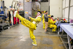 Wang Lu who plays the Monkey King practices his moves backstage before the China National Peking Opera Company performance of the Monkey King in Cankarjev dom Culture and Congress Center in Ljubljana, Slovenia, Dec. 31, 2015.