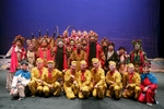 The cast of the Chinese opera the Monkey King from China National Peking Opera Company pose for a group photo after their final performance in Cankarjev dom Culture and Congress Center in Ljubljana, Slovenia, Dec. 31, 2015.