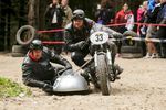 Matjaz Lesjak and Silvo Luznar (SLO) on a 1957 BMW sidecar motorcycle compete in the 19th Hrast Memorial, the international oldtimers\' mountain race in Ljubelj, Slovenia, Sep. 13, 2015.