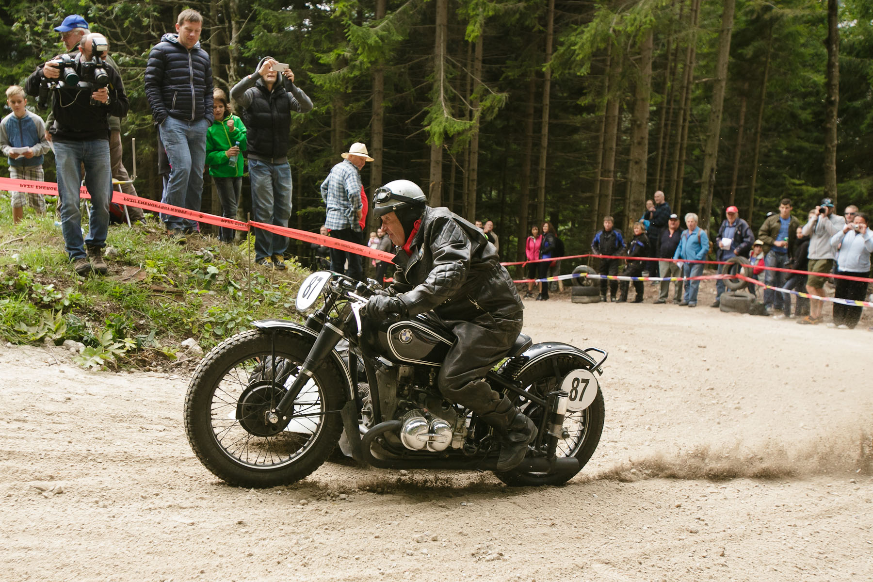 Miro and Anka Hrast (SLO) on a 1939 BMW sidecar motorcycle compete in the 19th Hrast Memorial, the international oldtimers\' mountain race in Ljubelj, Slovenia, Sep. 13, 2015.