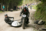 Miro and Anka Hrast on a 1939 BMW sidecar motorcycle return from a mountain pass after round one of the 19th Hrast Memorial, the international oldtimers\' mountain race in Ljubelj, Slovenia, Sep. 13, 2015.