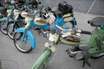A group of old Tomos Calibri motorcycles is parked at the 19th Hrast Memorial, the international oldtimers\' mountain race in Ljubelj, Slovenia, Sep. 13, 2015.