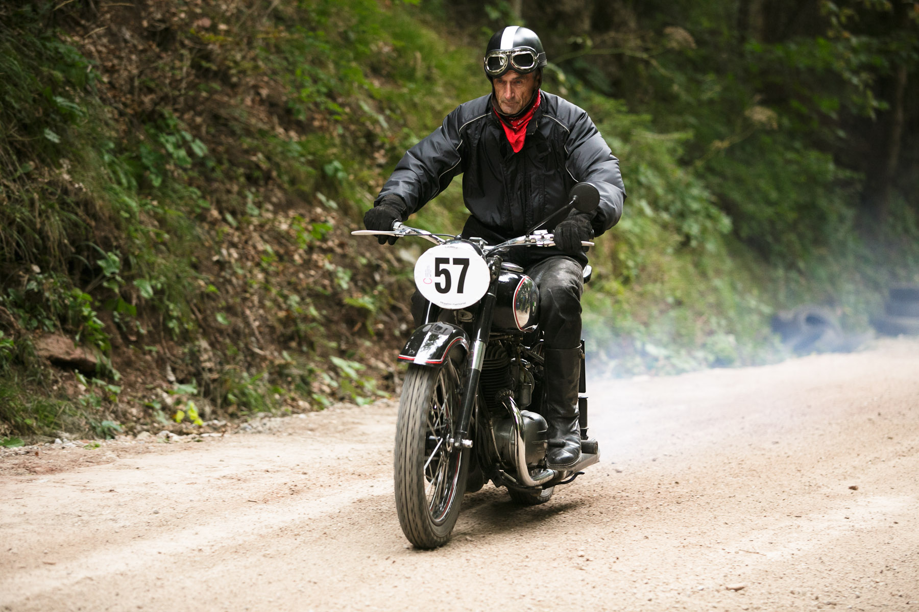 Viljem Krpic (SLO) on a 1953 Puch motorcycle competes in the 19th Hrast Memorial, the international oldtimers\' mountain race in Ljubelj, Slovenia, Sep. 13, 2015.