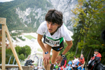 Antonella Confortola (ITA) is first to arrive at the finish after running up the ski flying hill during the Red Bull 400 race in Planica, Slovenia, Sep. 19, 2015.