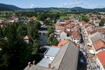 The town of Ribnica, Slovenia, from above during the 40th traditional woodenware fair, Sep. 6, 2015.