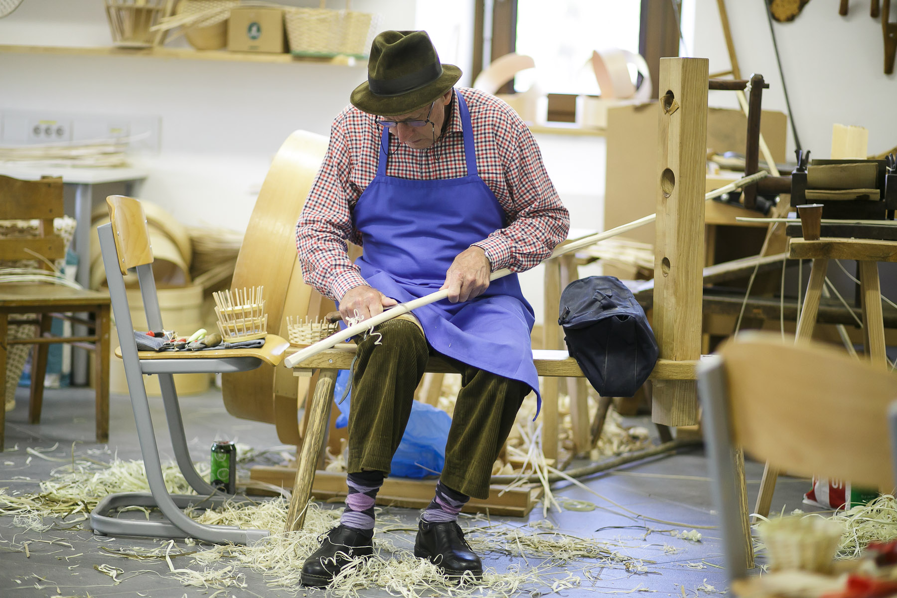 A man peals a wooden stick at the 40th traditional woodenware fair in Ribnica, Slovenia, Sep. 6, 2015.