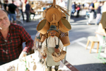 A wooden figure of a traditional woodenware salesman at the 40th traditional woodenware fair in Ribnica, Slovenia, Sep. 6, 2015.