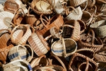 Baskets on sale at the 40th traditional woodenware fair in Ribnica, Slovenia, Sep. 6, 2015.