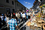 People walk down the main street during the 40th traditional woodenware fair in Ribnica, Slovenia, Sep. 6, 2015.