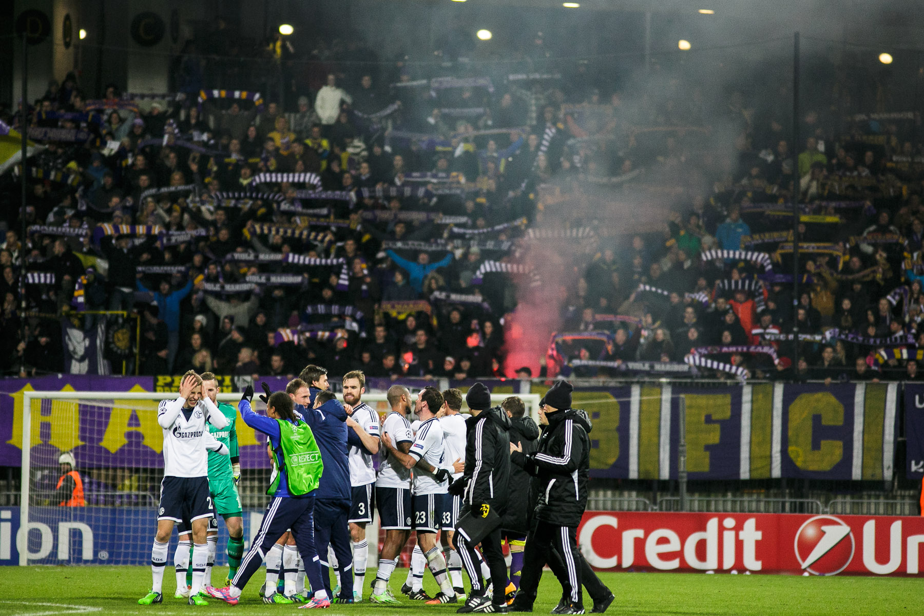 FC Schalke 04 celebrate victory against NK MAribor after the UEFA Champions League Group G match on December 10 in Maribor, Slovenia.