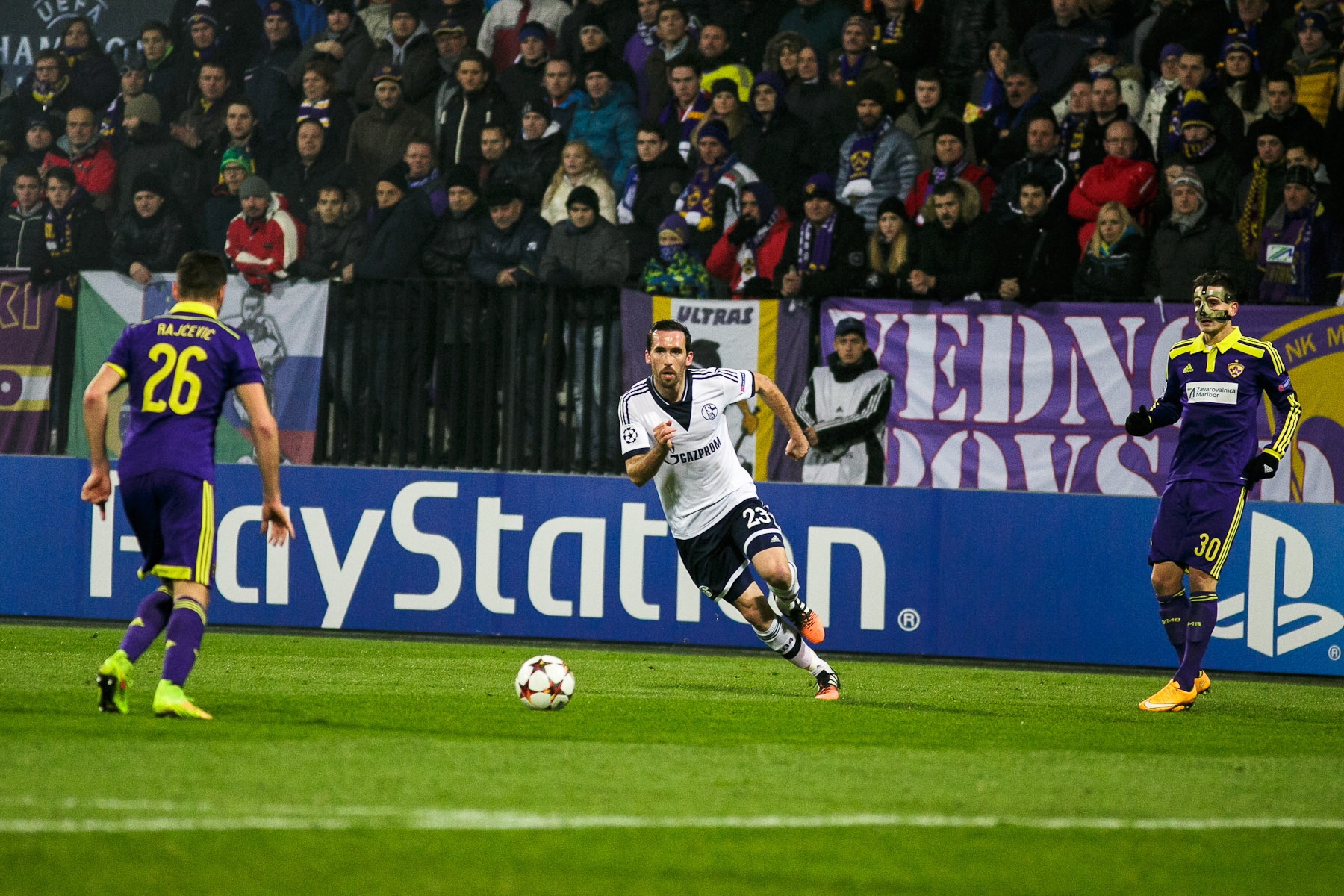 Christian Fuchs of FC Schalke 04 in action during the UEFA Champions League Group G match on December 10 in Maribor, Slovenia.