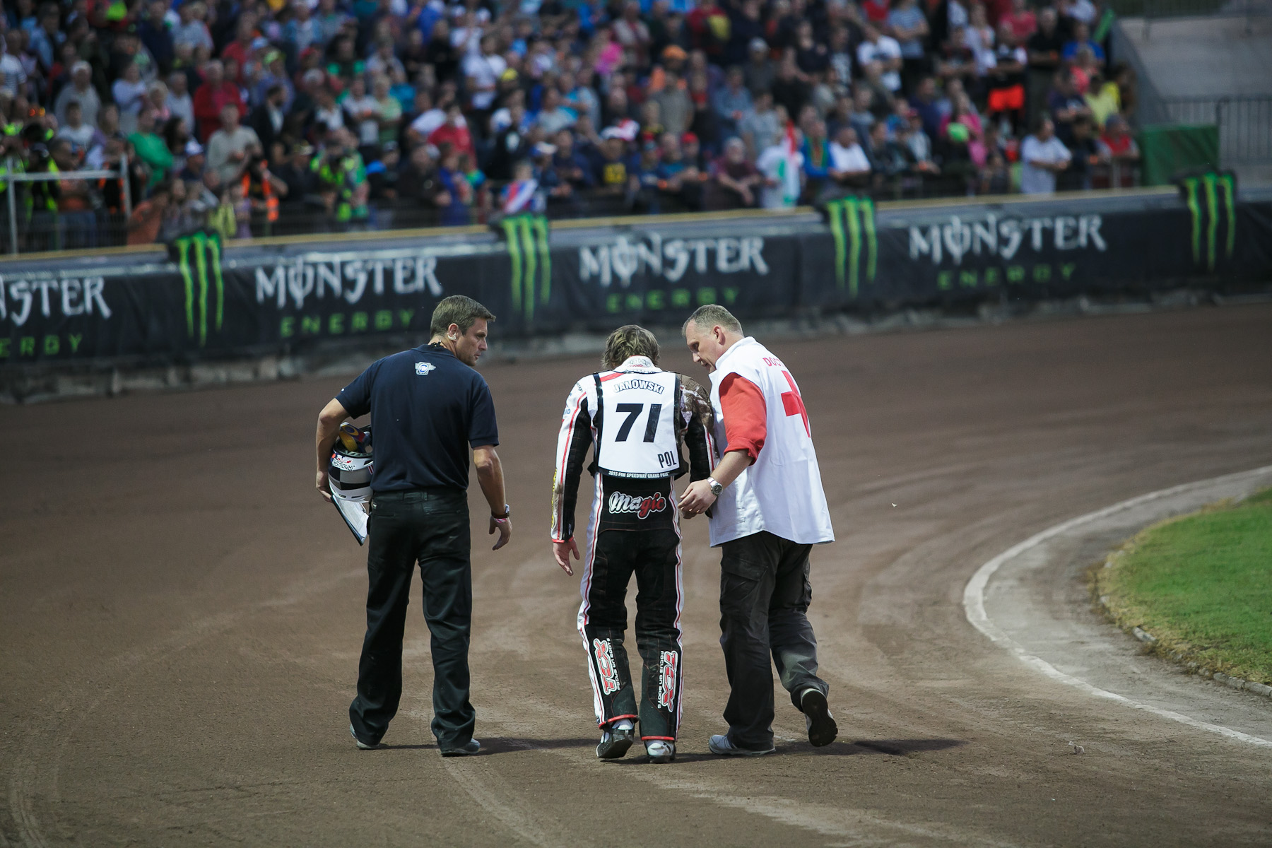 Maciej Janowski of Poland walks away from a crash with no serious injuries during the Mitas Slovenian FIM Speedway Grand Prix at Matija Gubec Stadium in Krsko, Slovenia, Sep. 12, 2015.