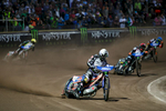 Greg Hancock of USA, Tai Woffinden of Great Britain, Michael Jepsen Jensen of Denmark and Niels-Kristian Iversen of Denmark compete in the Mitas Slovenian FIM Speedway Grand Prix at Matija Gubec Stadium in Krsko, Slovenia, Sep. 12, 2015.