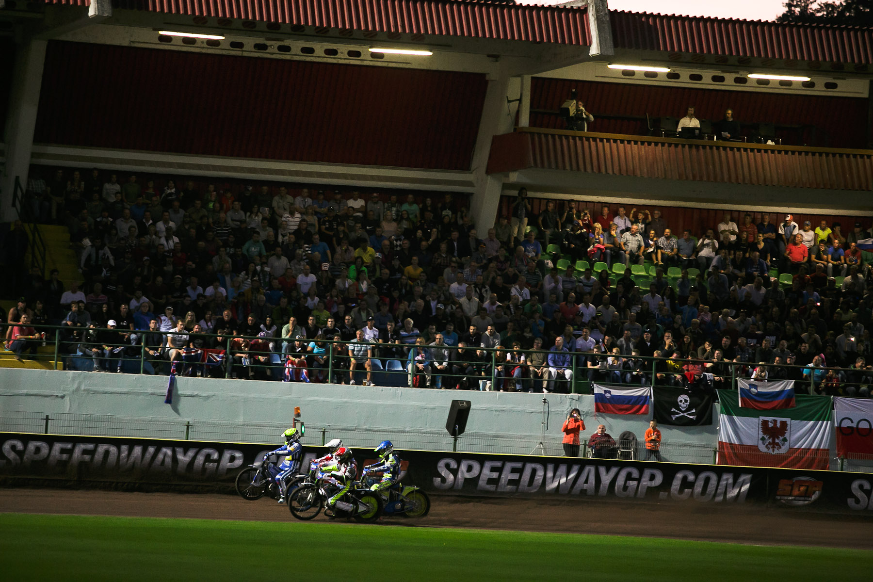 Chris Holder of Australia, Krzysztof Kasprzak of Poland, Peter Kildemand of Denmark and Matej Zagar of Slovenia compete in the Mitas Slovenian FIM Speedway Grand Prix at Matija Gubec Stadium in Krsko, Slovenia, Sep. 12, 2015.